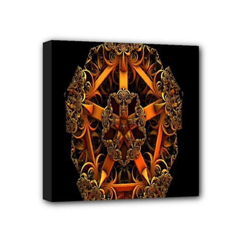 3d Fractal Jewel Gold Images Mini Canvas 4  X 4
