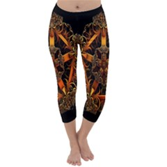 3d Fractal Jewel Gold Images Capri Winter Leggings
