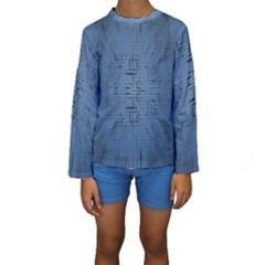 Zoom Digital Background Kids  Long Sleeve Swimwear