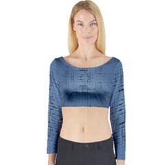 Zoom Digital Background Long Sleeve Crop Top