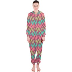 Abstract Seamless Abstract Background Pattern Hooded Jumpsuit (Ladies)