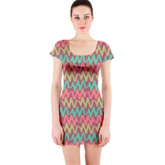 Abstract Seamless Abstract Background Pattern Short Sleeve Bodycon Dress