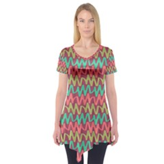 Abstract Seamless Abstract Background Pattern Short Sleeve Tunic