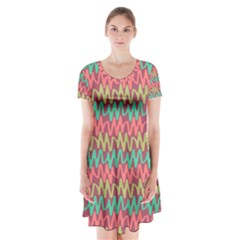 Abstract Seamless Abstract Background Pattern Short Sleeve V Neck Flare Dress