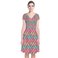 Abstract Seamless Abstract Background Pattern Short Sleeve Front Wrap Dress