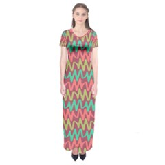 Abstract Seamless Abstract Background Pattern Short Sleeve Maxi Dress