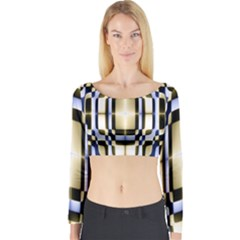 Colorful Seamless Pattern Vibrant Pattern Long Sleeve Crop Top