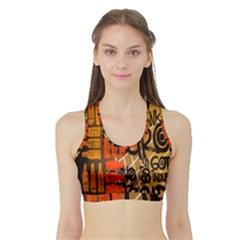 Graffiti Bottle Art Sports Bra with Border