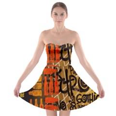 Graffiti Bottle Art Strapless Bra Top Dress