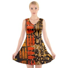 Graffiti Bottle Art V-Neck Sleeveless Skater Dress