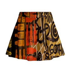 Graffiti Bottle Art Mini Flare Skirt
