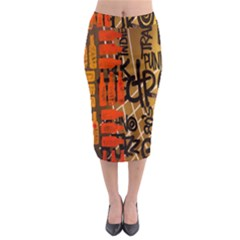Graffiti Bottle Art Midi Pencil Skirt
