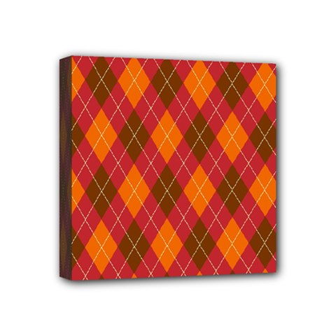 Argyle Pattern Background Wallpaper In Brown Orange And Red Mini Canvas 4  X 4