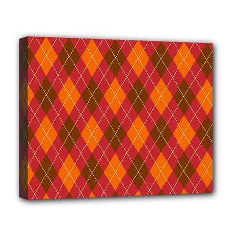 Argyle Pattern Background Wallpaper In Brown Orange And Red Deluxe Canvas 20  X 16