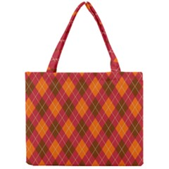 Argyle Pattern Background Wallpaper In Brown Orange And Red Mini Tote Bag