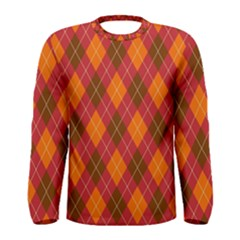 Argyle Pattern Background Wallpaper In Brown Orange And Red Men s Long Sleeve Tee