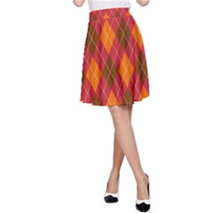 Argyle Pattern Background Wallpaper In Brown Orange And Red A-Line Skirt