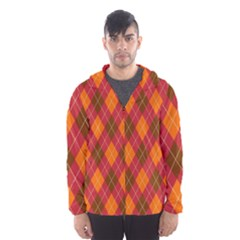 Argyle Pattern Background Wallpaper In Brown Orange And Red Hooded Wind Breaker (Men)