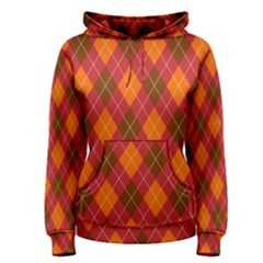 Argyle Pattern Background Wallpaper In Brown Orange And Red Women s Pullover Hoodie