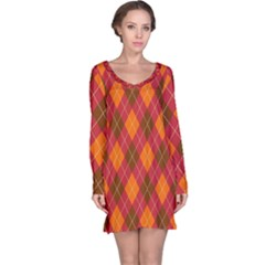 Argyle Pattern Background Wallpaper In Brown Orange And Red Long Sleeve Nightdress