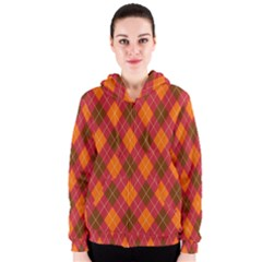 Argyle Pattern Background Wallpaper In Brown Orange And Red Women s Zipper Hoodie