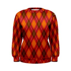 Argyle Pattern Background Wallpaper In Brown Orange And Red Women s Sweatshirt