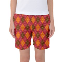 Argyle Pattern Background Wallpaper In Brown Orange And Red Women s Basketball Shorts