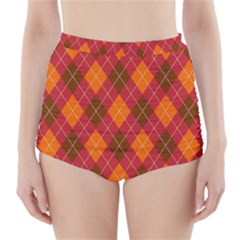 Argyle Pattern Background Wallpaper In Brown Orange And Red High Waisted Bikini Bottoms