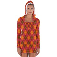 Argyle Pattern Background Wallpaper In Brown Orange And Red Women s Long Sleeve Hooded T Shirt