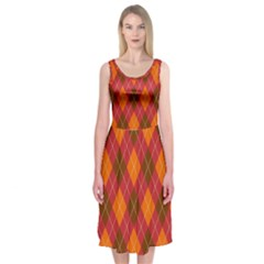 Argyle Pattern Background Wallpaper In Brown Orange And Red Midi Sleeveless Dress