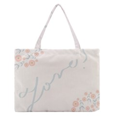 Love Card Flowers Medium Zipper Tote Bag