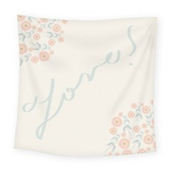 Love Card Flowers Square Tapestry (large)