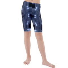 A Completely Seamless Tile Able Techy Circuit Background Kids  Mid Length Swim Shorts