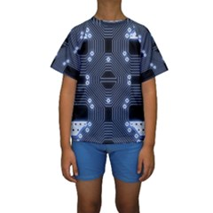 A Completely Seamless Tile Able Techy Circuit Background Kids  Short Sleeve Swimwear