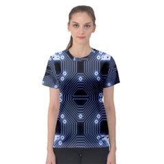 A Completely Seamless Tile Able Techy Circuit Background Women s Sport Mesh Tee