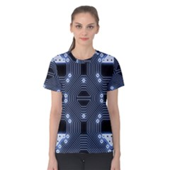 A Completely Seamless Tile Able Techy Circuit Background Women s Cotton Tee