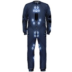 A Completely Seamless Tile Able Techy Circuit Background Onepiece Jumpsuit (men)