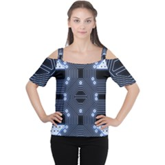 A Completely Seamless Tile Able Techy Circuit Background Women s Cutout Shoulder Tee