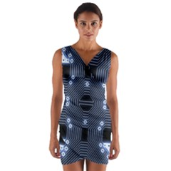 A Completely Seamless Tile Able Techy Circuit Background Wrap Front Bodycon Dress