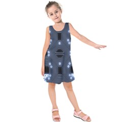 A Completely Seamless Tile Able Techy Circuit Background Kids  Sleeveless Dress