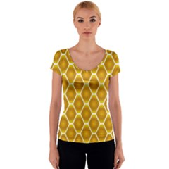 Snake Abstract Background Pattern Women s V-Neck Cap Sleeve Top