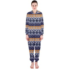 Seamless Abstract Elegant Background Pattern Hooded Jumpsuit (Ladies)