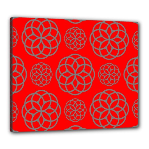Geometric Circles Seamless Pattern On Red Background Canvas 24  X 20