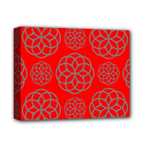 Geometric Circles Seamless Pattern On Red Background Deluxe Canvas 14  x 11