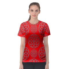 Geometric Circles Seamless Pattern On Red Background Women s Sport Mesh Tee