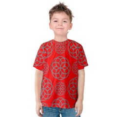 Geometric Circles Seamless Pattern On Red Background Kids  Cotton Tee