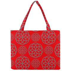 Geometric Circles Seamless Pattern On Red Background Mini Tote Bag