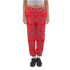 Geometric Circles Seamless Pattern On Red Background Women s Jogger Sweatpants