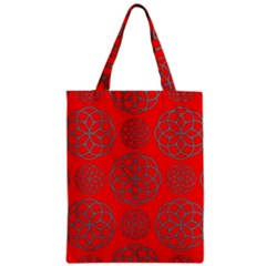 Geometric Circles Seamless Pattern On Red Background Zipper Classic Tote Bag