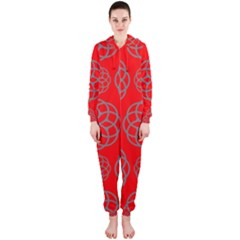 Geometric Circles Seamless Pattern On Red Background Hooded Jumpsuit (Ladies)